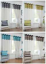 Cambridge Eyelet/Ring Top Stripe Border Lined Curtain Pairs By Hamilton McBride®