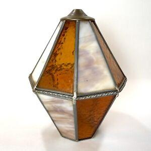 """Vintage Mission Arts Crafts Slag Glass Hanging Light Shade Pendant Lamp 11.25"""" T"""
