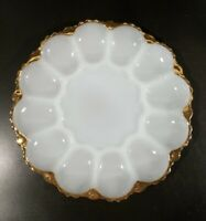 Vintage Anchor Hocking White Milk Glass Deviled Egg Dish Plate Platter Gold Rim