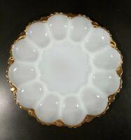 Vintage Anchor Hocking White Milk Glass Deviled Egg Dish Plate Platter Gold Rim