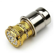 1x Gold Crystal Rhinestones Auto Car Cigarette Lighter Plug Socket