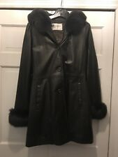 GORGEOUS!! Black Fox fur & leather Jacket Coat Soft Leather S with hood. NEW