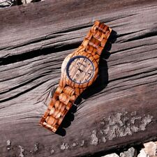 Fashion BEWELL Wood Watch Wooden Quartz Date Display Men's Wristwatch Wood Band