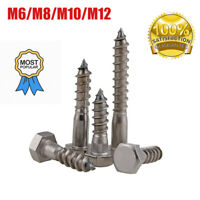 2/4/10/20× M6-M12 Stainless Steel Hex Hexagon Head Self-tapping Wood Screw Bolts