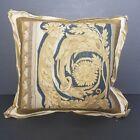 18th c Aubusson Tapestry Pillow Velvet Silk and Antique Gold Filigree Trim 15x15