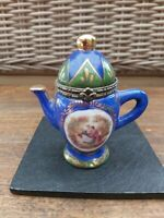 Regal Porcelain Trinket Hinged Tea Pot Blue Miniature Teapot