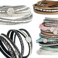 Wickelarmband Armband Damen Strass Charm Anhänger Kunstleder Magnetarmband Waben