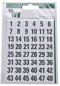 IVY 1-100 Number Labels Stickers Numeric Self-Adhesive Black Numbered
