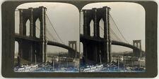 Photo Stéréo Citrate New York Brooklyn Bridge Vers 1900