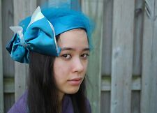 Vintage Pillbox Hat with Bow and Lace - Free Shipping