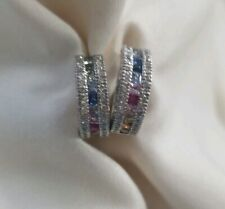 14k white gold diamond multi color sapphire channel set  huggie earrings