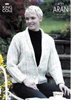 KNITTING PATTERN Ladies Long Cardigan /& Jacket Pockets Collar Aran KingCole 5658