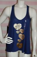 $38 Victoria's Secret Navy Blue Gold Foil Heart Racerback Tank Top~Size S/M