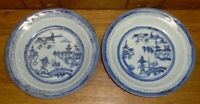 2 Antique Chinese Canton Porcelain Deep Plates Or Bowls - 10""