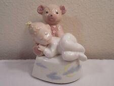 1994 Lladro Daisa Golden Memories Girl Sleeping On Teddy Bear Figurine Music Box