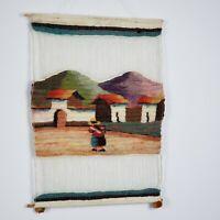 100% Sheep Wool hand made Peru Peruvian Village Wall Tapestry