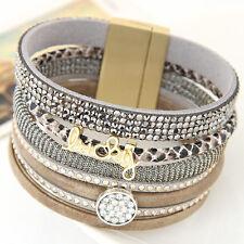 Rhinestone Multilayer Leather Bracelet Bangles Wide Magnetic Wristband Jewelry