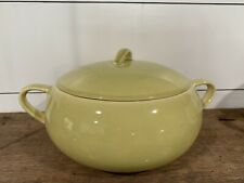 Mid-Century Bowl and Lid Yellow/Green Avocado Color w/Handles Unbranded MCM