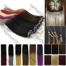 """16"""" Micro Ring Beads Easy Loop Tip Remy Human Hair Extensions Straight 100S 40g"""