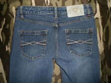 """AVIREX """"Live the Fly Life"""" jrs sz 5 Boot-Cut Mid-Rise Stretch faded JEANS 25x30"""