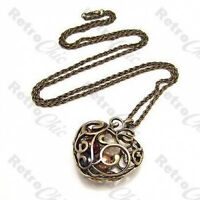 BIG HEART CAGE PENDANT multi pearl NECKLACE long rope chain VINTAGE BRASS bronze