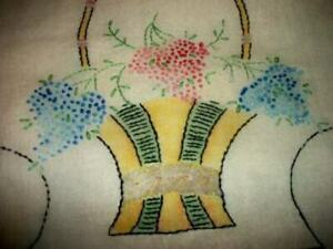 1920s LILACS FLOWER BASKET TINTED EMBROIDERED PILLOW COVER ART DECO ERA