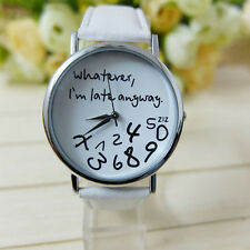Women Watch Leather Band English Letter Numbers Analog Quartz Wristwatch L