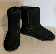 Bearpaw Girl's Boots Adelaide NEW Size 3 Youth Leather Black Wool Warm
