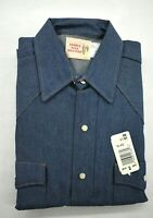 Vintage Saddle King Western Mens Long Sleeve Blue Denim Pearl Snap Shirt 15.5 32