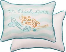 "NEW!~Pillow~Mermaid ""on beach time""~Decorative Throw~14"" Cotton~Cottage/House"