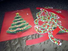 NEW vtg American Greetings Christmas Tree Honeycomb Decorated Centerpiece plus