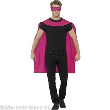 Men's Pink Cape With Eye Mask Fancy Dress Super Hero Phantom Stag Night Fun