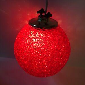 Vintage Popcorn Plastic Hanging Swag Light Red Ball Round/ Mood Light/70s Style
