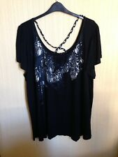 BNWOT GORGEOUS BLACK TOP WITH FOIL AND BEAD DESIGN AND PLAITS SIZE 30 BY EVANS