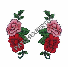 #3718R Lot 2Pcs Red Pink Rose Embroidery Iron On Appliqué Patch /Pair