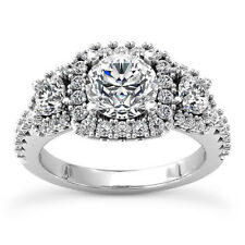 Pave Double Halo 1.5 Ct Round Cut Diamond Engagement Ring White Gold VS2 F