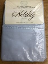 New listing Vintage Nobility Utica 2 King Pillowcases Ice Blue