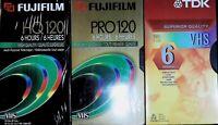 Blank VHS Tapes Fujifilm HQ 120 Fujifilm Pro 120 TDK T-120 Lot Of 3 New Sealed