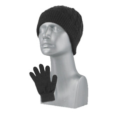 NWT CABLE-KNIT BEANIE AND MAGIC GLOVE SET WOMENS GRAND SIERRA