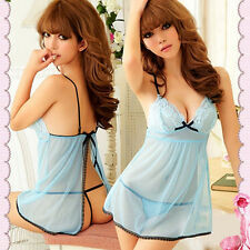 Fashion Babydoll Women Blue Sexy Racy Lingerie Sleepwear Dress+Thongs Cheap
