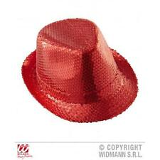 Red Sequin Fedora Hat Burlesque Moulin Rouge Fancy Dress Costume Accessory