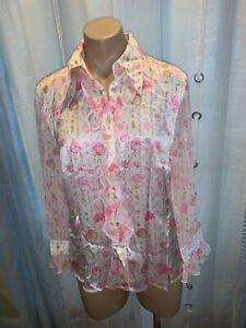 ESCADA Pink Floral Silk Ruffle Button Front L/S Blouse Size 40