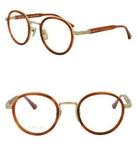 GUCCI Titanium GG0067O 001 48mm Round Optical Frame Eyeglasses Gold Havana