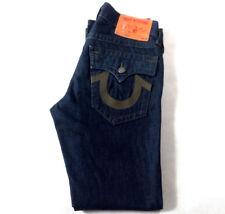 Men's True Religion Jeans 31 x 32 Ricky Straight Leg in Navy Blue RRP £200