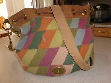 Fossil Vintage Reissue Drawstring Canvas Southwestern Leather Bag Handbag Purse