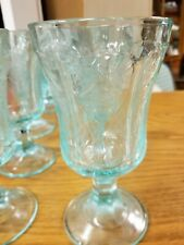 Footed Goblets Teal Set of 8 Turquoise Teal Green Embossed Glass Vintage