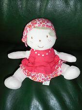 Doudou poupée assise fille robe rose à pois bandana MARESE
