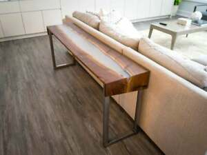 Acacia Wood River Table, clear epoxy, hall table, console  table, side table top