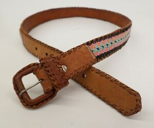 Tapestry Leather Belt 32 Cloth Inlay Stitched Diamond Western Brown