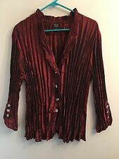 MSK Plus Sz 1x Gorgeous Red Pleated Crinkle Blouse w/ Rhinestone Buttons EUC